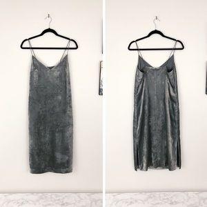 H&M Gray Crushed Velvet Midi Slip Dress NWT 6